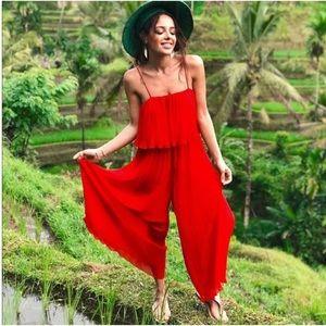 Zara Red Pleated Wide Leg Jumpsuit